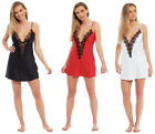 Satin Chemise Ladies EYELASH LACE V NECK PLUNGE Short Nightie Nightdress Silky