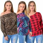 WOMENS LADIES LONG SLEEVE OFF SHOULDER BARDOT TARTAN LEOPARD PRINT BATWING TOP