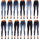 Womens Ladies High Waisted Blue Skinny Jeans Stretch Denim Jeggings Size 6-18 LB
