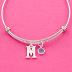 Personalised bracelet steel bangle letters initials birthstones gift family