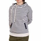 Tom Tailor Denim Ladies Striped Sweat Kapuzenpullover Weiß Dunkelblau(129210)