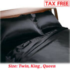 Satin Charmeuse Sheet Set Queen King Soft Silk Feel Bedding 4 Pcs Luxury Black image