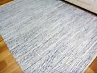 Leather and Jute Floor Rug Rustic Charm Blue