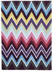 Thick Acrylic Floor Area Rug Zig Zag Design Pink Hand Tufted Essence