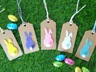Easter Bunny Gift Tags Cute Kraft Labels 9x4.5cm Colour Ties 3,5 or 10 Gift Wrap