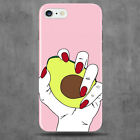 Baby Pink Avocado Phone Case Hand Green 3D Hard Plastic Clip On Case Funny 3