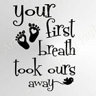 'Your First Breath...' Quote BIG SIZES Reusable Stencil Wall Decor Kids Room N49
