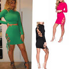 Ladies Celeb Inspired Lace Up Details Crop Top/Mini Skirt Bodycon 2 Piece Co-Ord