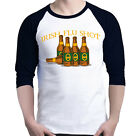 Irish Flu Shot Raglan Baseball Funny Drinking Saint Patricks Day Beer Shamrock