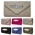 New Diamante Floral Detail Faux Suede Women's Evening Clutch Bag Purse Handbag