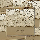 Personalised Embossed Wedding Invitations Laces Laser Cut Floral Free P*P