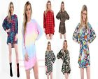 Womens Loose Fit Comic RAINBOW Baggy Batwing Oversized Hi LO Hem Top Dress 8-20