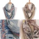 Scarf Castle Graphic Print Infinity Style Multi Color Vintage Old Elegance Chic