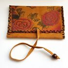 ON SALE 50% OFF Handmade Real Leather Tobacco Pouch Rose silk screen print