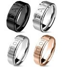 """MOM"" or ""DAD"" Stainless Steel Ring Mothers Day Fathers Day Gift Black Rose Gold"