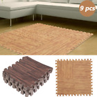 9pc Imitation Wood Soft Foam Exercise Floor Mats Gym Kids Play Mats Interlocking