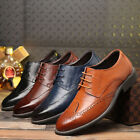 New Mens Leather Shoe Dress Formal Lace up Brogue wing tip Wedding Suit Oxfords