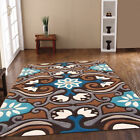 BEST QUALITY THICK PILE BROWN BLUE HARLEQUIN DESIGNER RUGS ON CLEARANCE SALE
