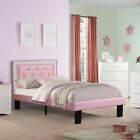 teen platform bed - Youth Kids Teen Full Platform Bed Tufted Crystal Headboard Pink PU Leather