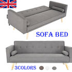 3 Colors Fabric Sofa Bed 3 Seater Couch Padded Sofabed Suite Place Saving