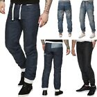 NEW MENS CUFFED JEANS EZ377 DENIM REGULAR FIT JOGGERS STYLE IN NAVY STONE WASH