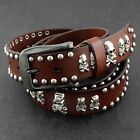 Skull Studded Rivet Genuine Leather Punk Rock Belt Mens Waistband Brown/black