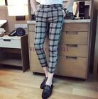 Men's Stylish Slim Fit Houndstooth Pants Formal Dress Party Casual Trousers Size