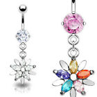 Snowflake CZ Gem Belly Ring Navel Naval Flower Clear, Multicolor
