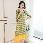Women 2018 New Chinese Style Floral Printed Silk Dress Long Skirt Elegant Dress
