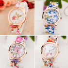 Women Girl Watch Silicone Printed Flower Quartz WristWatches Mothers' Day Gift image