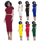 Women Short Sleeve Round Neck Solid Slim Bodycon Party Pencil Dress Skirt O7561
