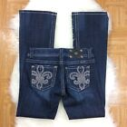 Miss Me Boot Cut Jeans Low Rise Dark Wash Fleur De Lis Women's 28 JP5145B2