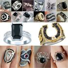 Fashion Silver Plated Black Sapphire Ring Wedding Women Jewelry Gifts Size 5-11