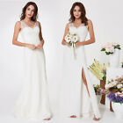 Ever-Pretty Long Split Bridesmaid Dresses White Sleeveless Evening Gowns 07233