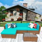 iKayaa SET OF 5 Patio Sofa Furniture Garden Outdoor Rattan Poolside Sectional YC