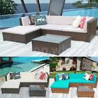 5pcs Patio Sofa Furniture Garden Outdoor PE Rattan Poolside Sectional Set G7Y5