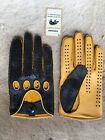 Driving Leather Gloves Peccary Black Yellow Car Auto Gift Handmade