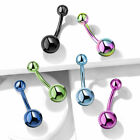 1pc Titanium Ion Plated Simple Double Ball Belly Ring Pierced Navel Naval  image