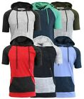 Mens Short Sleeve Hoodie Marled Raglan Tee Pocket Light Gym Lounge T-Shirt NWT image