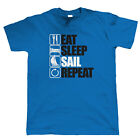 Eat Sleep Sail Repeat T Shirt - Sailing Gift for Him Dinghy Yachting Catamaran