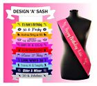 Personalised Birthday Sash Sashes Any Age 18th 21st 30th 40th 50th 60th 70th