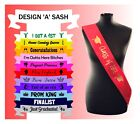 Personalised Prom Sash Sashes School Leavers Prom King Queen homecoming reunion