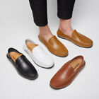 Mens 38-46 Casual Leather Moccasins Driving Slip On Loafers Flat Office Shoes