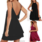 Women Strappy Loose Casual Solid Short Mini Dress Summer Beach Ruffled Dress New