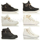 WOMENS LADIES FLAT MID HEEL LACE UP WEDGE HI TOP ANKLE TRAINER PUMPS BOOTS SIZE