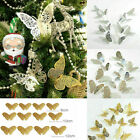 12x Christmas Tree Glitter Butterfly Hanging Home Party Decorations