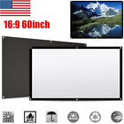 60''/100''/120'' Portable Projector Screen HD Movie Cinema Theater White 16:9 US