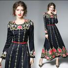 Womens Floral Embroidery Long Sleeves Palace Maxi Dress Slim Fit Ball Gown 2018