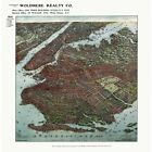 Brooklyn New York 1908 Bird's Eye Perspective Vintage Map Repro Poster
