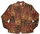 CHRISTOPHER & BANKS Dark Red Orange Brown Ivory Embroidered Fancy Jacket MEDIUM
